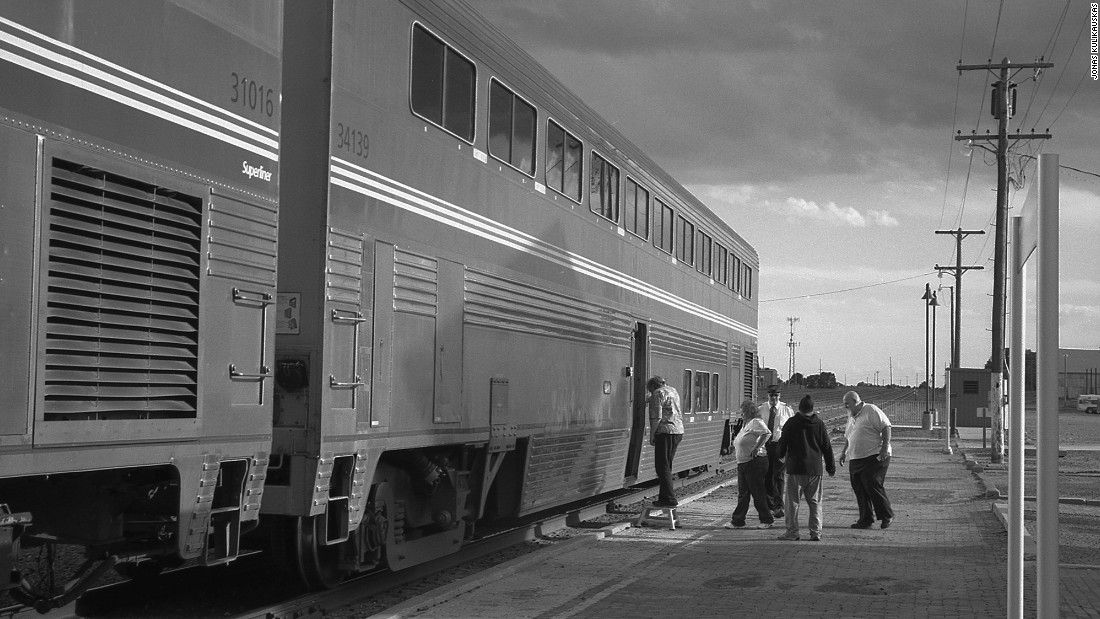 Boarding a westbound Southwest Chief train.