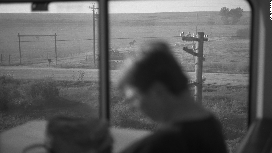 Looking out the window of a sightseer car aboard Amtrak's Southwest Chief train.