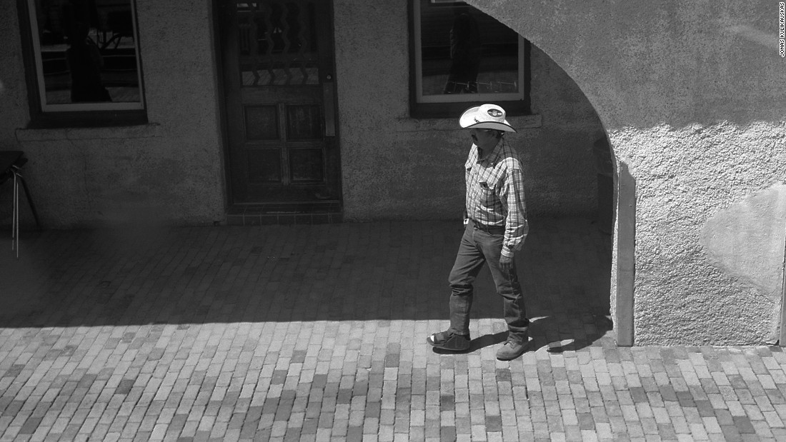 A gentleman in a cowboy hat seen at an Amtrak station in Lamy, New Mexico.