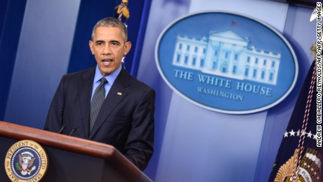 President Barack Obama speaks during a press conference in the briefing room of the White House in Washington, DC on December 18, 2015.