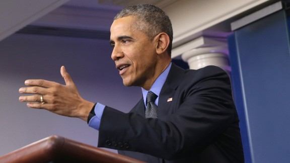 WASHINGTON, DC - DECEMBER 18:  U.S. President Barack Obama speaks to the media during his year end news conference in the Brady Briefing Room at the White House December 18, 2015 in Washington, DC. Later today, Obama will travel to San Bernardino, California to meet with families of the 14 victims of the recent mass shooting, before departing to Hawaii for Christmas vacation, returning January 3, 2015.  (Photo by Alex Wong/Getty Images)