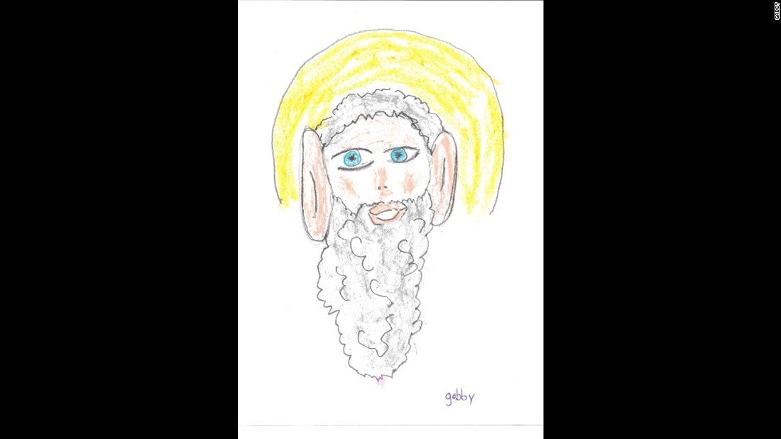 "Gabby, age 7, drew this photo of God, and said, ""God has giant ears so he can hear everything we are saying."" Here are other children's impressions of God from the book <a href=""http://www.amazon.com/OMG-How-Children-See-God/dp/0757318649"" target=""_blank"">""OMG! How Children See God.""</a>"