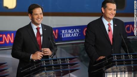 Republican presidential candidate Marco Rubio and Ted Cruz take part in the presidential debates at the Reagan Library on September 16, 2015 in Simi Valley, California. Fifteen Republican presidential candidates are participating in the second set of Republican presidential debates.