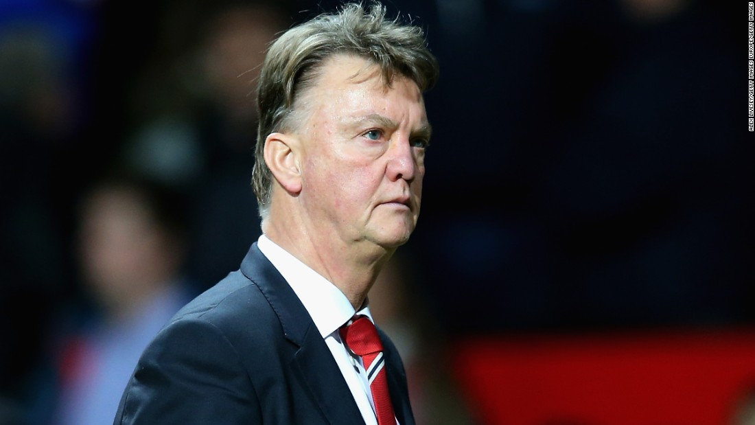 Louis van Gaal leaves the pitch after 1-2 defeat against Norwich City at Old Trafford.