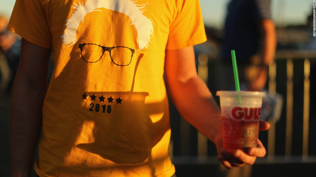 A supporter wears a T-shirt for U.S. Sen. Bernie Sanders during a campaign rally in Manassas, Virginia, on September 14.
