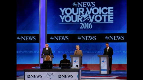 Democratic presidential candidates Bernie Sanders, Hillary Clinton and Martin O'Malley debate at Saint Anselm College in Manchester, New Hampshire, on Saturday, December 19. The candidates met for their third debate.