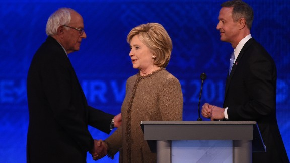 US Democratic presidential hopefuls (L-R) Bernie Sanders, Hillary Clinton and Martin O
