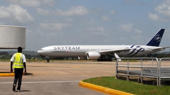 An Air France flight sits on the runway at Moi International Airport in Mombasa, Kenya.