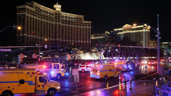 Police and emergency crews respond to the scene of a car accident along Las Vegas Boulevard, Sunday, December 20, 2015, in Las Vegas.