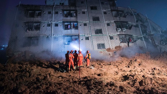 The badly damaged buildings made it extremely dangerous for rescue workers.