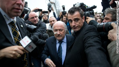 ZURICH, SWITZERLAND - DECEMBER 21: FIFA president Joseph S. Blatter arrives for a press conference as reaction to his banishment for eight years by the FIFA ethics committee at FIFA's former headquarters at Sonnenberg in Zurich on December 21, 2015 in Zurich, Switzerland. (Photo by Philipp Schmidli/Getty Images)