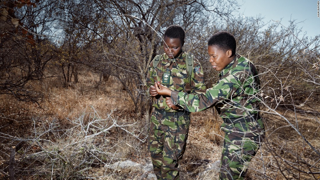 The Black Mambas are dedicated to protecting rhinos, elephants, lions, and any other wildlife that calls the park home. One part of the job involves disabling snares left by poachers.