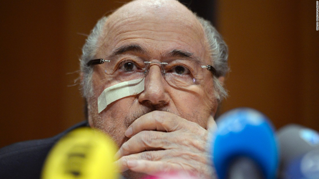 "Suspended FIFA President Joseph ""Sepp"" Blatter holds a news conference to respond to the FIFA ethics committee's verdict, at the Hotel Sonnenberg in Zurich, Switzerland, on Monday, December 21.<br />"