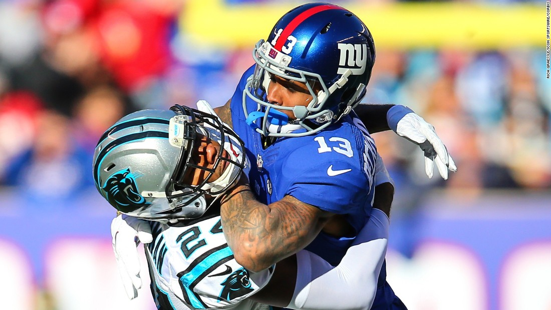 Carolina Panthers cornerback Josh Norman and New York Giants wide receiver Odell Beckham battle during the first quarter at MetLife Stadium in East Rutherford, New Jersey on Sunday, December 20.