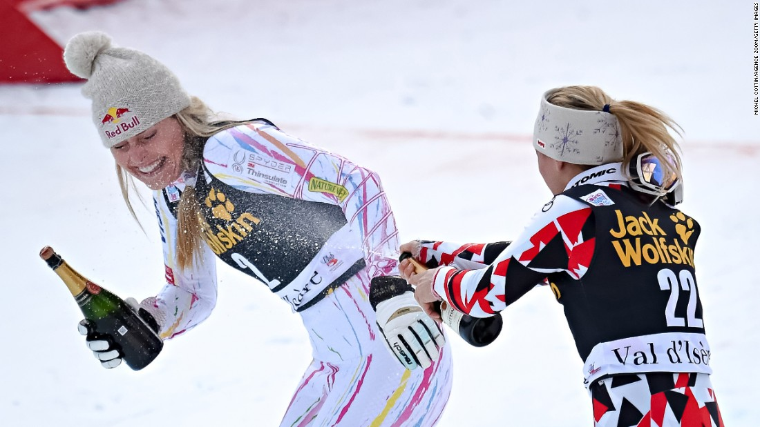 American Alpine skier Lindsey Vonn, left, took second place and Cornelia Huetter of Austria took third place during the Audi FIS Alpine Ski World Cup Women's Combined in Val d'Isere, France, on Friday, December 18.<br />