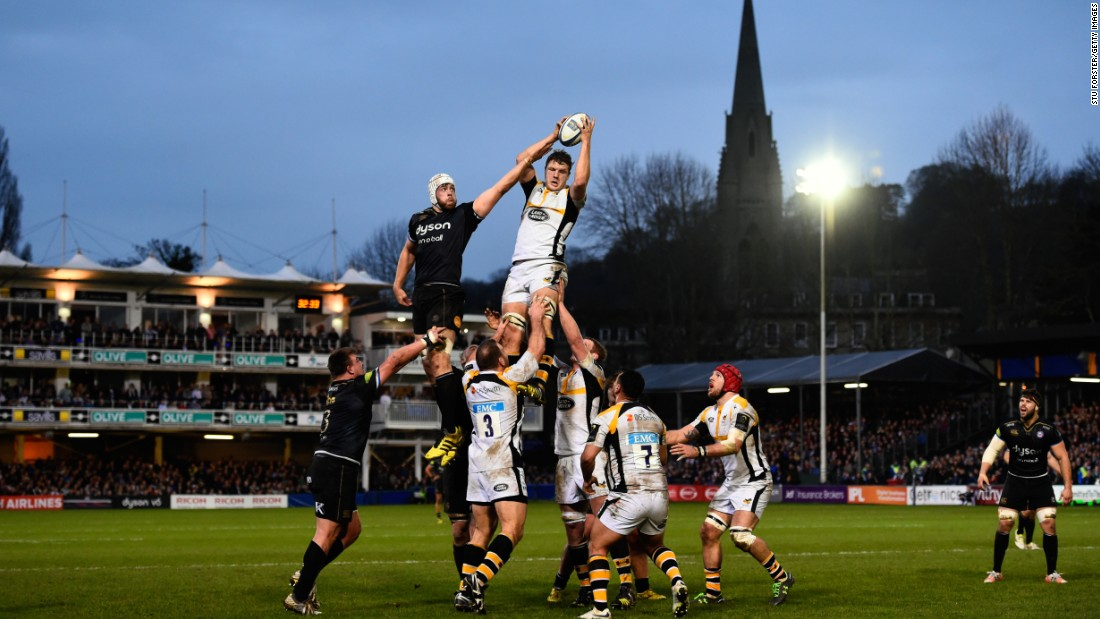 Dave Attwood of Bath is beaten in the lineout by Joe Launchbury of the Wasps during the European Rugby Champions Cup match at Recreation Ground in Bath, England, on Saturday, December 19.