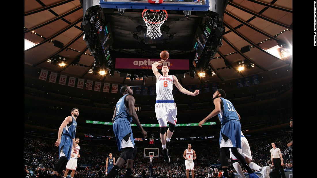 Kristaps Porzingis of the New York Knicks goes for the dunk during the game against the Minnesota Timberwolves on Wednesday, December 16, at Madison Square Garden in New York.
