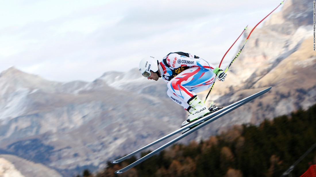 Adrien Theaux of France competes during the Audi FIS Alpine Ski World Cup Men's Downhill Training in Val Gardena, Italy, on Thursday, December 17.