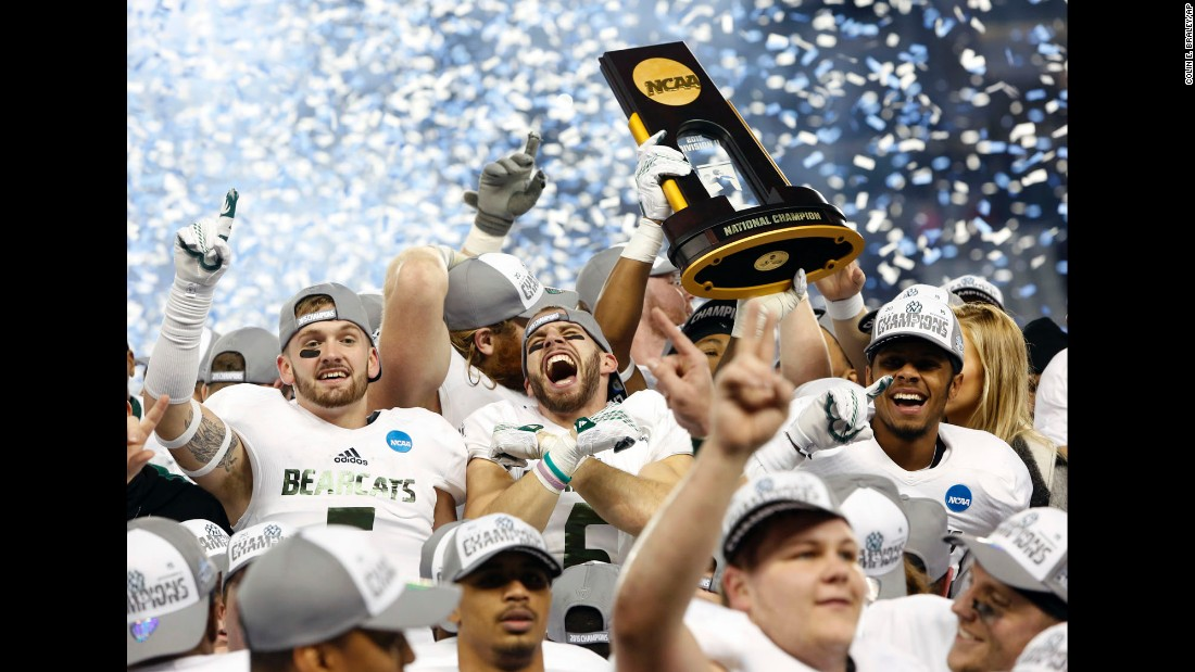 Members of the Northwest Missouri football team celebrate winning the NCAA Division II National Championship against Shepherd on Saturday, December 19, in Kansas City, Kansas. <br />
