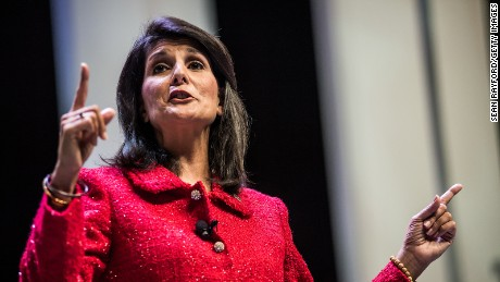 South Carolina Governor and moderator of the Heritage Action Presidential Candidate Forum Nikki Haley speaks to the crowd September 18, 2015 in Greenville, South Carolina.