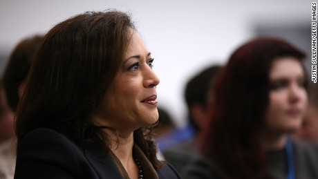 California Attorney General Kamala Harris looks on before delivering a keynote address during a Safer Internet Day event at Facebook headquarters on February 10, 2015 in Menlo Park, California.