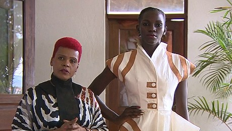 Ugandan designer Jose Hendo (left) creates high fashion from traditional bark cloth