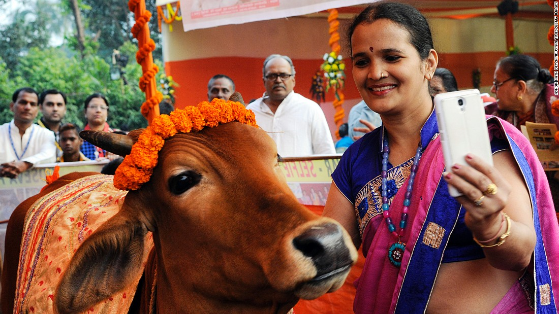 "A woman takes a selfie with a cow during a photo contest titled ""Selfie With Cow"" on Sunday, December 20, in Kolkata, India."