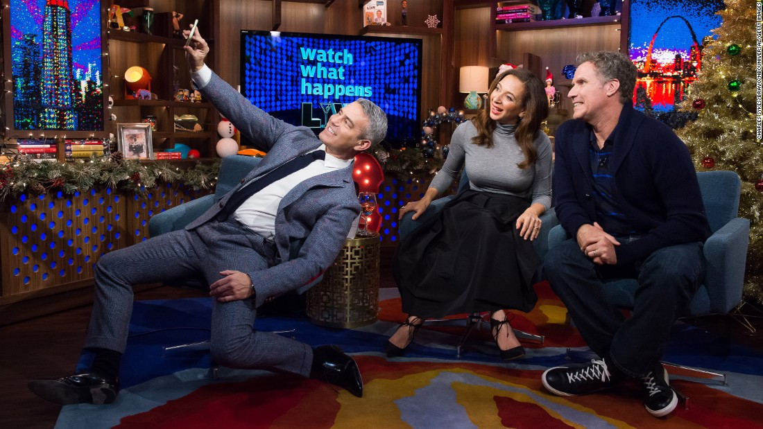 "Andy Cohen, left, Maya Rudloph and Will Ferrell take a selfie on the set of ""Watch What Happens Live"" on Sunday, December 20."