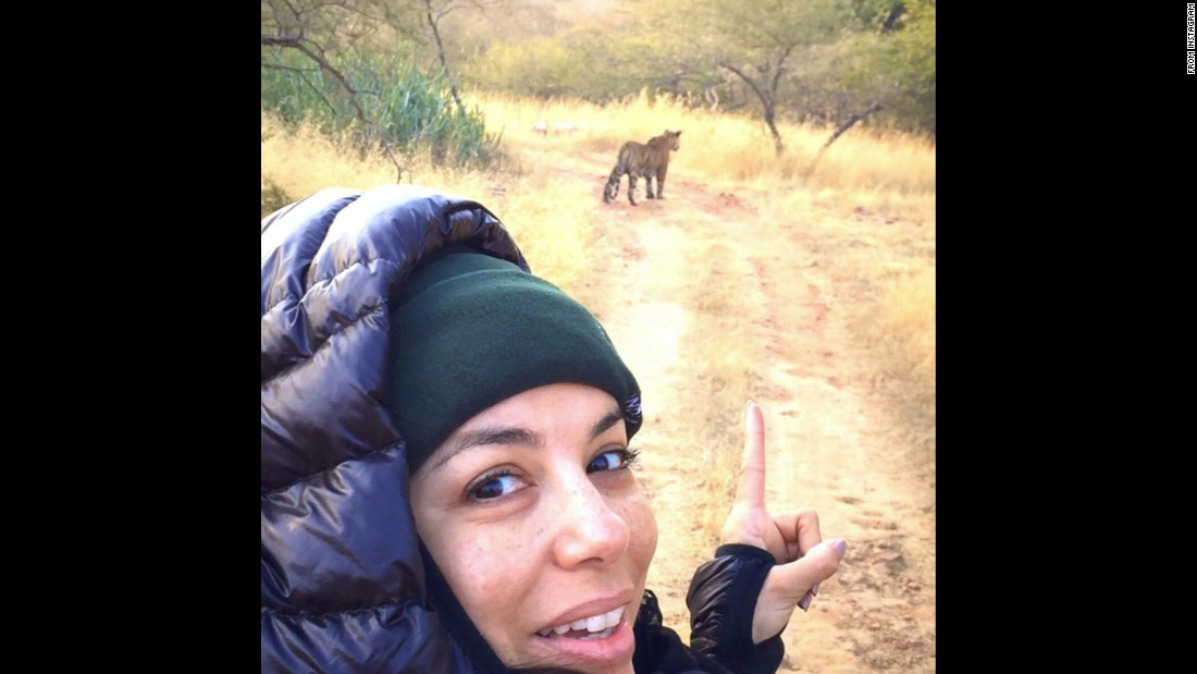 "Eva Longoria takes a selfie at the Ranthambore Tiger Reserve in north-central India on Friday, December 18. ""Yep. That's a tiger,"" <a href=""https://www.instagram.com/p/_a95kuiGs5/"" target=""_blank"">she wrote on Instagram.</a>"