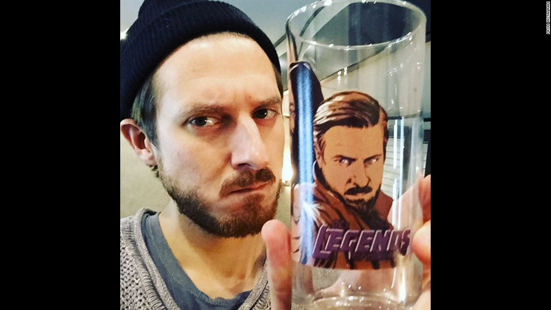 "Actor Arthur Darvill takes a selfie with a glass promoting ""Legends of Tomorrow"" on Friday, December 18. ""From now on, I will only drink out of glasses with my face on,"" <a href=""https://www.instagram.com/p/_a5L3iDgM5/"" target=""_blank"">he wrote on Instagram.</a>"