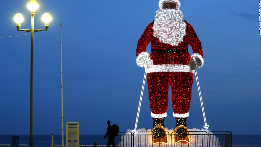 Santa Claus reigns supreme along the Promenade des Anglais in the French Riviera city of Nice.