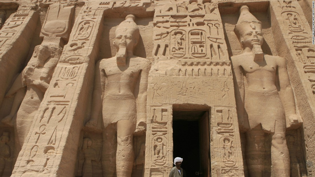The temple of Abu Simbel, south of Aswan, near the Sudan border. The mighty monument was carved from rock in the 13th century BC.