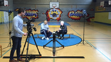 "John Amaechi (left) and Bob Martin during filming of ""The Power of Sport."""