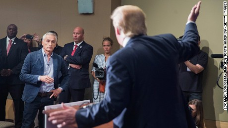 Trump fields a question from Univision and Fusion anchor Jorge Ramos during a press conference held before his campaign event at the Grand River Center on August 25, 2015 in Dubuque, Iowa. Earlier in the press conference Trump had Ramos removed from the room when he failed to yield when Trump wanted to take a question from a different reporter.