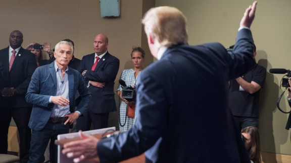 """Trump takes a question from Univision and Fusion anchor Jorge Ramos during a press conference at the Grand River Center in Dubuque, Iowa, on August 25. Earlier, Trump had Ramos <a href=""""http://www.cnn.com/2015/08/25/politics/donald-trump-megyn-kelly-iowa-rally/"""">removed from the room</a> after the two squabbled over Trump's immigration stance. """"Sit down. Sit down. Sit down,"""" Trump said, adding, """"Go back to Univision."""""""