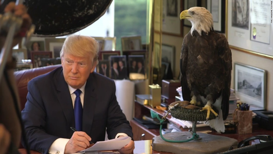 Trump was in the running for Time magazine's Person of the Year and was not pleased when German Chancellor Angela Merkel was selected instead. Alongside a profile on Trump, the publication published a behind-the-scenes video of a photo shoot from August. The video featured blooper-reel moments with Trump's co-star of the shoot, a bald eagle named Uncle Sam. The eagle ruffles its feathers, startling Trump.