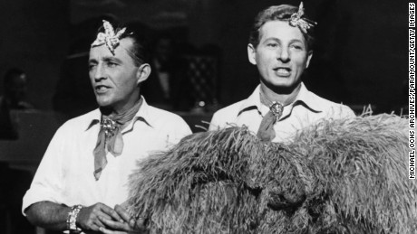 Bing Crosby and Danny Kaye on stage together in a scene from the film 'White Christmas', 1954. (Photo by Paramount/Getty Images)
