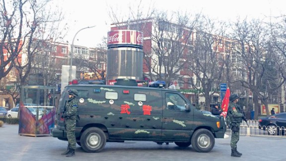 Beijing police beefed up its presence at large and medium-sized malls but didn't tie it to the warnings.