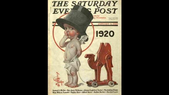 """In 1920, the Saturday Evening Post published an illustration of a baby in a top hat dragging a camel, a topical reference to Prohibition and the """"dry"""" years on tap for Americans."""