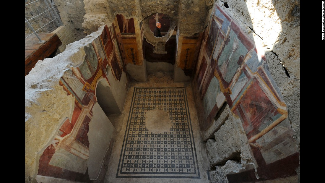 Frescoes are seen in the Criptoporticus Domus, one of six restored domus at U.N. World Heritage Site Pompeii, on Thursday, December 24, during the official opening to the public.