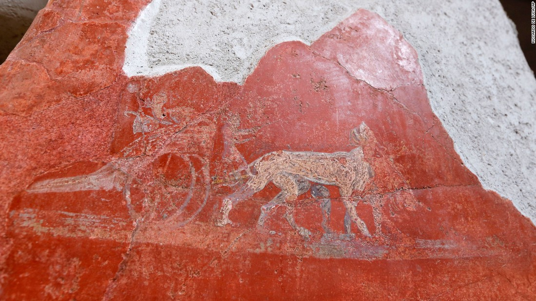 A detail of graffiti inside the Fullonica di Stephan's in Pompeii.
