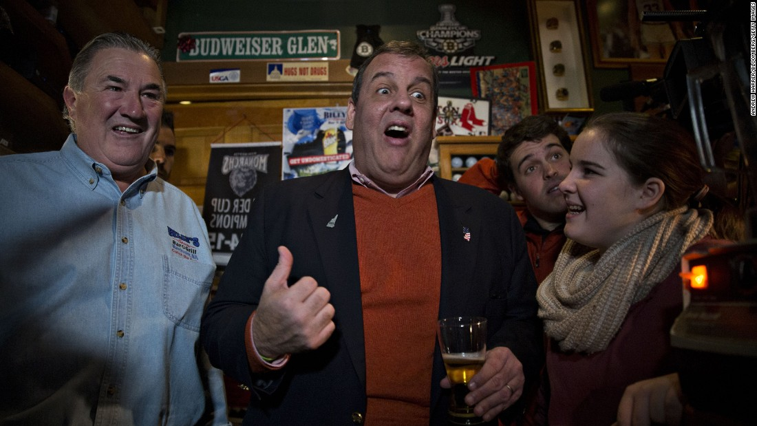 Republican presidential candidate New Jersey Gov. Chris Christie speaks at a campaign stop on Sunday, December 20, in Manchester, New Hampshire.