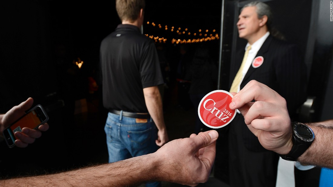 Stickers are handed out at a campaign event for Republican presidential candidate Sen. Ted Cruz on Tuesday, December 22, in Nashville, Tennessee.