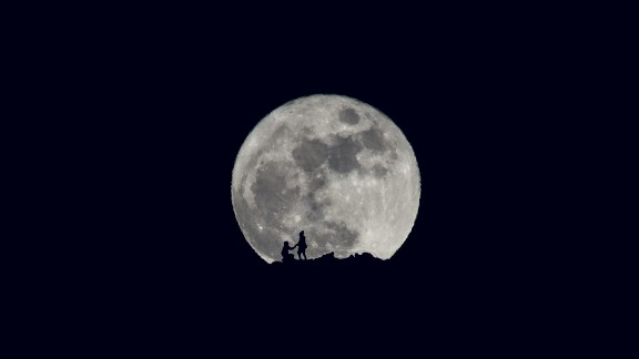 A full moon shines on Christmas in Ohrid, Macedonia. CNN iReporter Stojan Stojanovski photographed the silhouette of a marriage proposal in front of the moon on Friday.