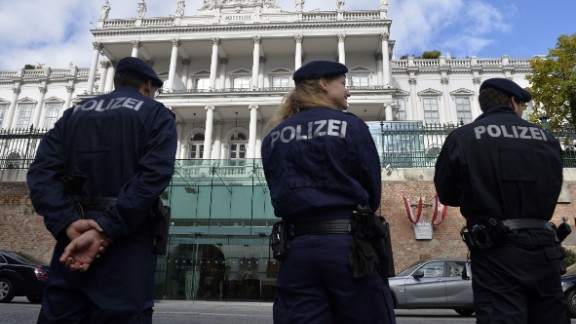 Police stand outside the Palais Coburg palace where are taking place the so-called EU 5+1 talks with Iran in Vienna, Austria on October 16, 2014. Six world powers and Iran tried to get troubled nuclear talks back on track after a day of discussions led by US Secretary of State John Kerry yielded no breakthrough.          AFP PHOTO / SAMUEL KUBANI        (Photo credit should read SAMUEL KUBANI/AFP/Getty Images)