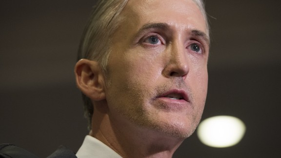 Chairman Trey Gowdy (R-SC) of the House Select Committee on Benghazi, speaks with reporters after Bryan Pagliano, a former State Department employee who worked on former US Secretary of State and Democratic Presidential hopeful Hillary Clinton's private e-mail server, invoked his Fifth Amendment right against self-incrimination, on Capitol Hill in Washington, DC, September 10, 2015.