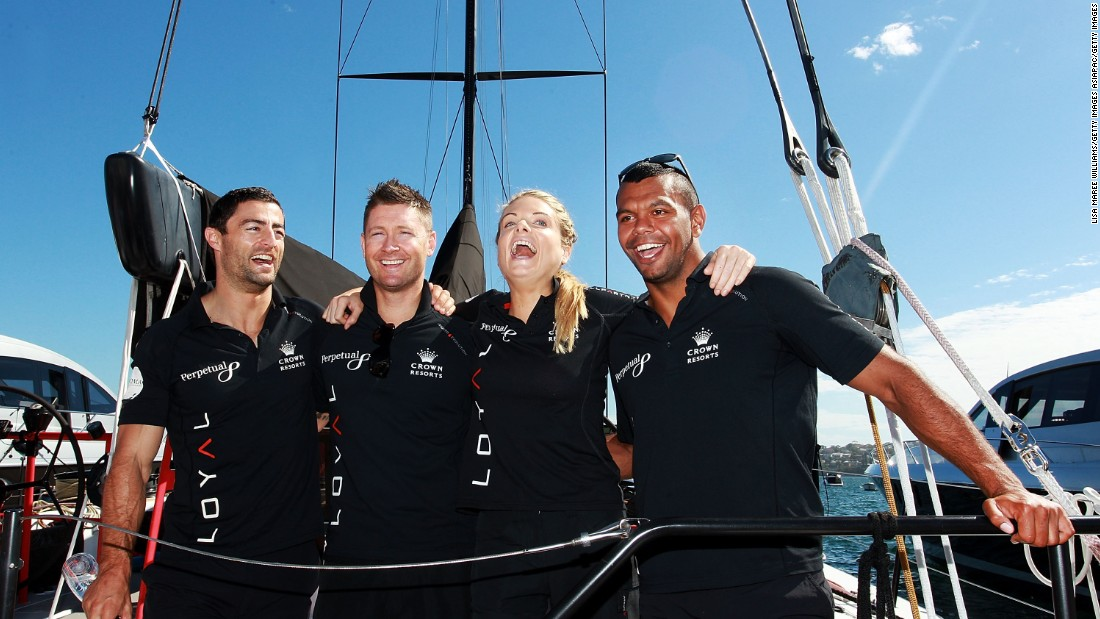 Home entry Perpetual Loyal included members of Australia's sporting royalty in its crew, including ex-rugby league star Anthony Minichello, former national cricket captain Michael Clarke, TV presenter Erin Molan and rugby union player Kurtley Beale. The yacht was forced to retire on Sunday due to a broken rudder.