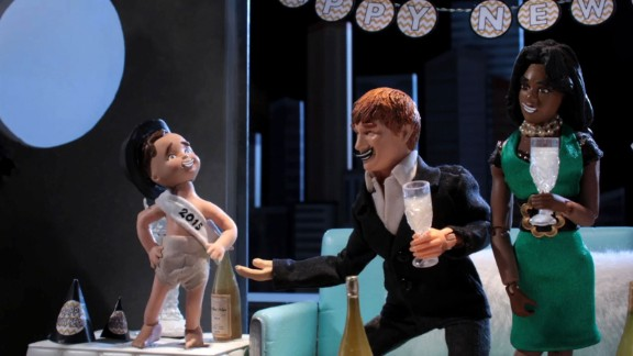 """In 2014, Baby New Year was depicted as a vengeful toddler who attacks people who break their midnight vows in a segment called """"Baby New Year: Resolution Enforcer"""" on the Adult Swim show """"Robot Chicken."""""""