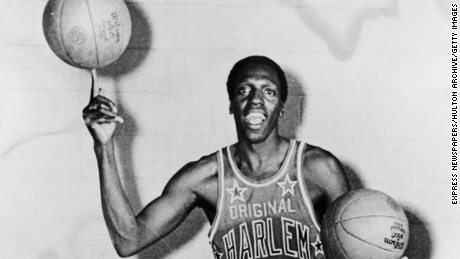 Portrait of American basketball player Meadowlark Lemon of the Harlem Globetrotters balancing a basketball on his finger, May 15, 1968. (Photo by Express Newspapers/Getty Images)