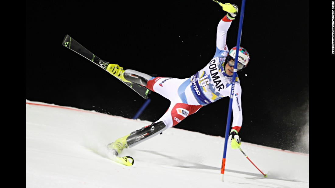 Swiss skier Daniel Yule loses his balance during a World Cup slalom race in Madonna di Campiglio, Italy, on Tuesday, December 22.
